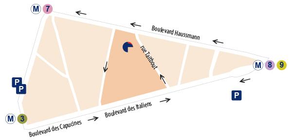 Plan Paris 13-15 rue Taitbout